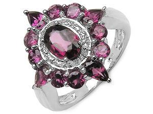 3.02 Carat Genuine Rhodolite Sterling Silver Ring