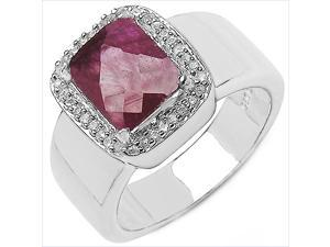 4.17 Carat Genuine Ruby & White Topaz Sterling Silver Ring