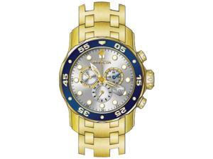 Invicta 80067 Pro Diver Silver Dial Gold Ion Plated Chrono Men's Watch