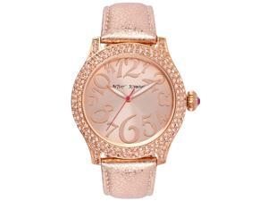 Betsey Johnson BJ0001960 Rose Gold Dial Leather Strap Women's Watch