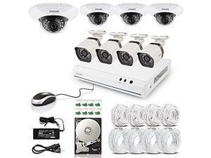 Zmodo 8 Channel 720P HD HDMI PoE Security NVR Kit - 4 Bullet Outdoor + 4 Dome Indoor Megapixel IP Surveillance Camera System with 1TB Hard Drive