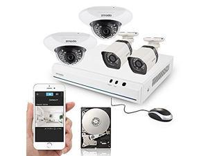 Zmodo 8CH HDMI NVR 2 Bullet Outdoor+2 Dome Indoor 720P HD PoE IP Security Camera System with 500GB Hard Drive