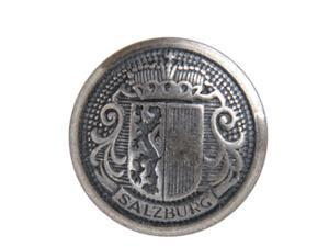 Metal Embossed Buttons 24L - Premium Salzburg Crest - Antique Silver