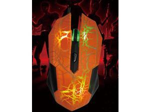 USB 800 / 1600 / 2400 / 3200dpi Wired Optical Mouse with Hybrid 7 color colourful LED illuminate Orange