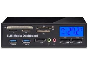 "5.25"" Media Dashboard Multi-Function Front Panel LCD Fan Controller with Card Reader & USB 3.0 Hub"