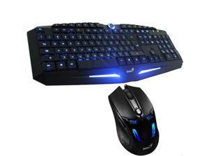 Genius K9 USB LED Illuminated Ergonomic Backlight Pro Gaming Game Keyboard + Genius GX310 2000DPI Wired USB Mouse with Adjustable ...