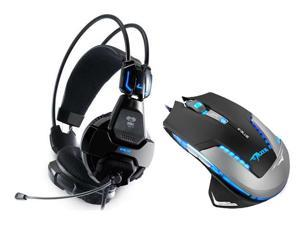 E-Blue Mazer II 2500 DPI Blue LED Optical USB Wired Gaming Mouse + Cobra 707 HS707 Professional Blue Light Illuminated Gaming ...