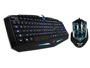 Genius K9 USB Blue LED Illuminated Ergonomic Backlight Pro Gaming Game Keyboard + thor Thunder King Ergonomic 2000 DPI Shift ...