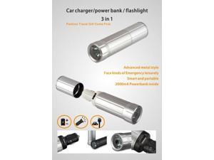Cyanics - 3 in 1 Car Charger, LED flash light, Compact Portable Power Bank Charger (2000 mAh) - Black