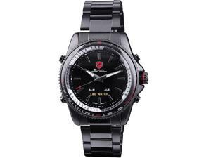 SHARK Men's LED Alarm Digital Analog Sport Black Stainless Steel Wrist Watch