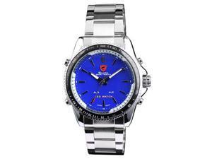 SHARK Mens LED Alarm Digital Analog Sport Blue Stainless Steel Wrist Watch