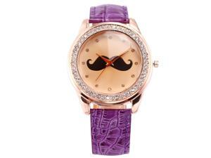 Timebear Rose Gold Tone Crystal Mustache Ladies Women Purple Leather Quartz Wrist Watch WAA513