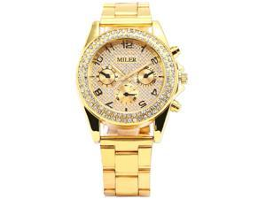 Timebear Crystal Lady Women Analog Gold Dial Case Quartz Luxury Awesome Wrist Watch WAA553