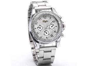 MILER Charms Silver White Crystal Analog Bracelet Ladies Girl Dress Quartz Watch