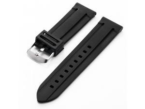 New 24mm Military Mens Black Silicone Rubber Replacement Watch Band Straps