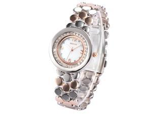 WEIQIN White Dial Luxury Bling Crystal Lady Steel Bracelet Quartz Dress Watch Bangle WQI054