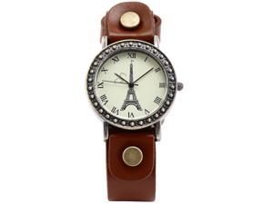 Timebear Vintage Bronze Case Eiffel Tower Lady Girl Orange Leather Band Quartz Wrist Watch