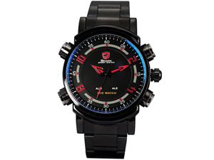 SHARK Black Red Led Date Day Alarm Stainless Mens Sport Wrist Watch