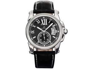 KS Mens Date Day Automatic Mechanical Black Leather Wrist Watch + Gift Box