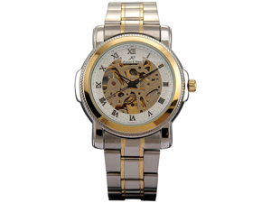 KS Skeleton Analog Golden Silver Steel Men Automatic Mechanical Wrist Watch New