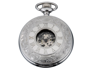 Timebear Silver White Skeleton Mens Carved Mechanical Classic Pocket Watch Chain Gift
