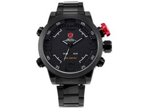 SHARK Mens LED Digital Date Day Sport Black Stainless Steel Alarm Quartz Wrist Watch