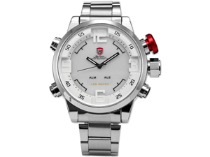 Shark SH104 Men's LED Day & Date White Dial Sport Stainless Steel Quartz Wrist Watch