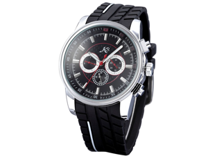 KS Day Date 24 Hours Automatic Mechanical Black Dial Mens Rubber Wrist Watch