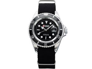 Shark Army SAW013 Mens Black Nylon Date Military Luminous Sport Quartz Watch + Box