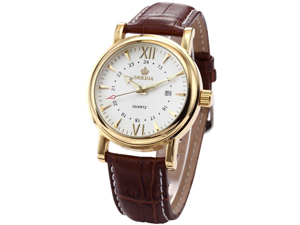 Orkina ORK046 Men's White Dial Coffee Leather Quartz Analog Watch