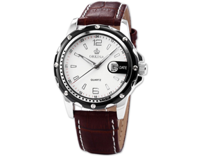 Orkina Mens White Dial Coffee Leather Date Sport Quartz Wrist Watch Gift