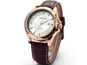 Orkina Mens Golden White Dial Date Leather Sport Quartz Wrist Watch Gift