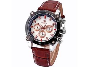 Orkina Mens White Dial 6 Hands Coffee Strap Sport Quartz Wrist Watch Gift
