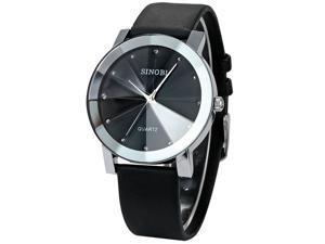 SINOBI Crystal Elegant Mens Women Black Quartz Leather Wrist Quartz Watch Gift