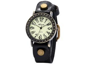 Ailisha Luxury Bronze Bezel Genuine Black Leather Lady Bracelet Sports Quartz Watch