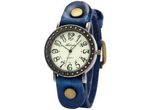 Alisha Retro Bronze Case Lady Women Bracelet Genuine Blue Leather Analog Quartz Wrist Watch
