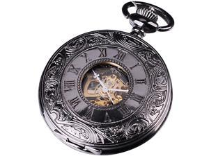 Mens Elegant Design Analog Mechanical Pocket Watch Gift