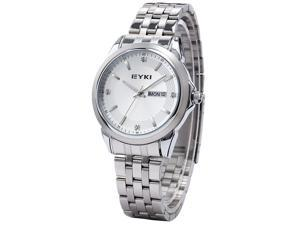 EYKI Elegant Business Men's Silver Stainless Analog White Dial Quartz Wrist Watch