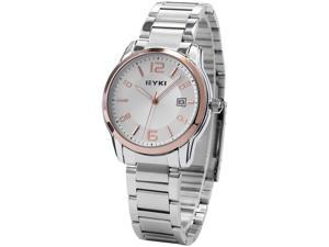 EYKI Golden Bezel Date JP Movement Stainless Steel Strap Mens Sport Quartz Watch