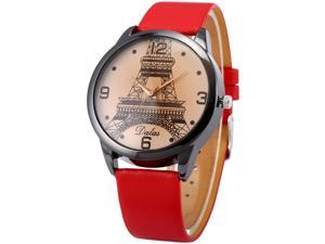 Dalas Fashion Eiffel Tower Lady Girl Analog Quartz Red Leather Wrist Watch