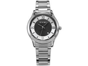 EYKI Black White Roman Dial Date Display Stainless Steel Men Sports Quartz Watch