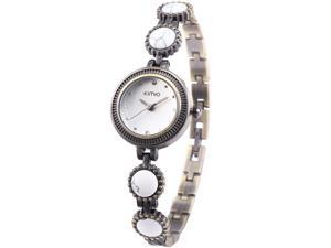 KIMIO Retro Brass White Agate Elegant Charm Women Lady Bracelet Dress Wrist Watch