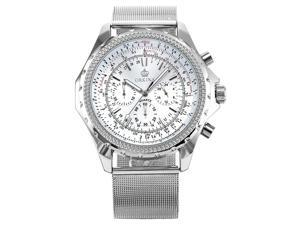 ORKINA Mens Luxury Chronograph Silver Stainless Steel Band Sport Wrist Watch