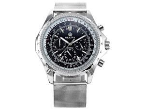 ORKINA Chronograph Silver Stainless Steel Band Mens Sport Quartz Wrist Watch