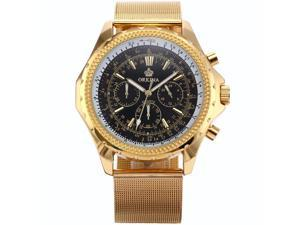 ORKINA Elegant Chronograph Golden Stainless Steel Band Mens Sport Wrist Watch