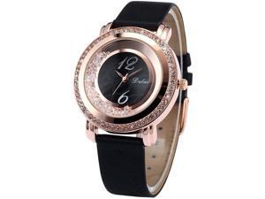 Dalas Rose Gold Case Bling Moving Crystal Lady Flower Black Textured Leather Quartz Watch