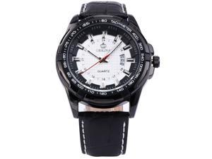 ORKINA Date Display Diamond Check White Dial Leather Band Mens Sport Quartz Watch