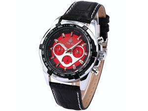 ORKINA Chronograph Red Dial Black Leather Band Mens Quartz Sport Wrist Watch