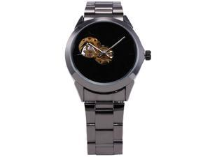 SHENHUA New Black Skeleton Mens Roman Cool Automatic Mechanical Steel Band Analog Watch