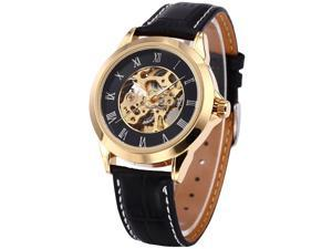 SHENHUA Roman Golden Case Mens Skeleton Automatic Mechanical Leather Wrist Watch